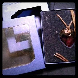 Genuine Swarovski red Crystal heart necklace